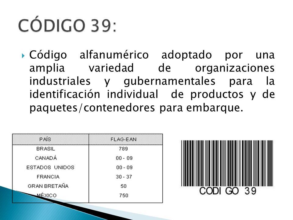 Código alfanumérico adoptado por una amplia variedad de organizaciones industriales y gubernamentales para la identificación individual de productos y de paquetes/contenedores para embarque.
