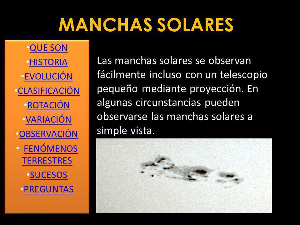 MANCHAS SOLARES RECONSTRUCCIÓN DE 11.000 AÑOS DE MANCHAS SOLARES QUE SON HISTORIA EVOLUCIÓN CLASIFICACIÓN ROTACIÓN VARIACIÓN OBSERVACIÓN FENÓMENOS TER