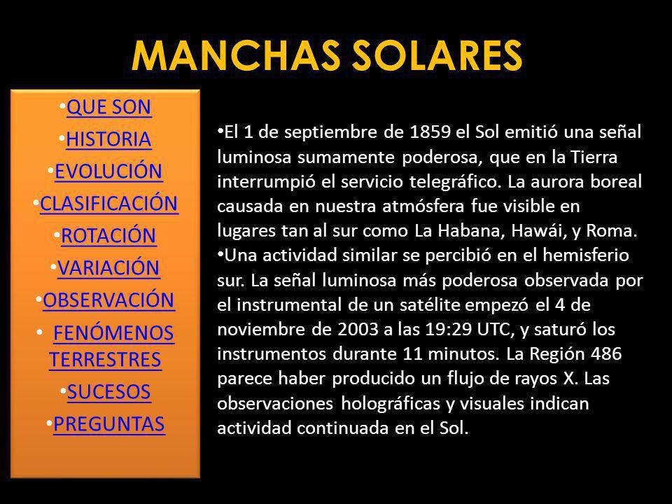 MANCHAS SOLARES Se han efectuado intentos de relacionar el ciclo de 11 años de las manchas solares con fenómenos cíclicos de la Tierra, como variaciones del clima, periodos de lluvia y sequía, variación en la longitud del día.