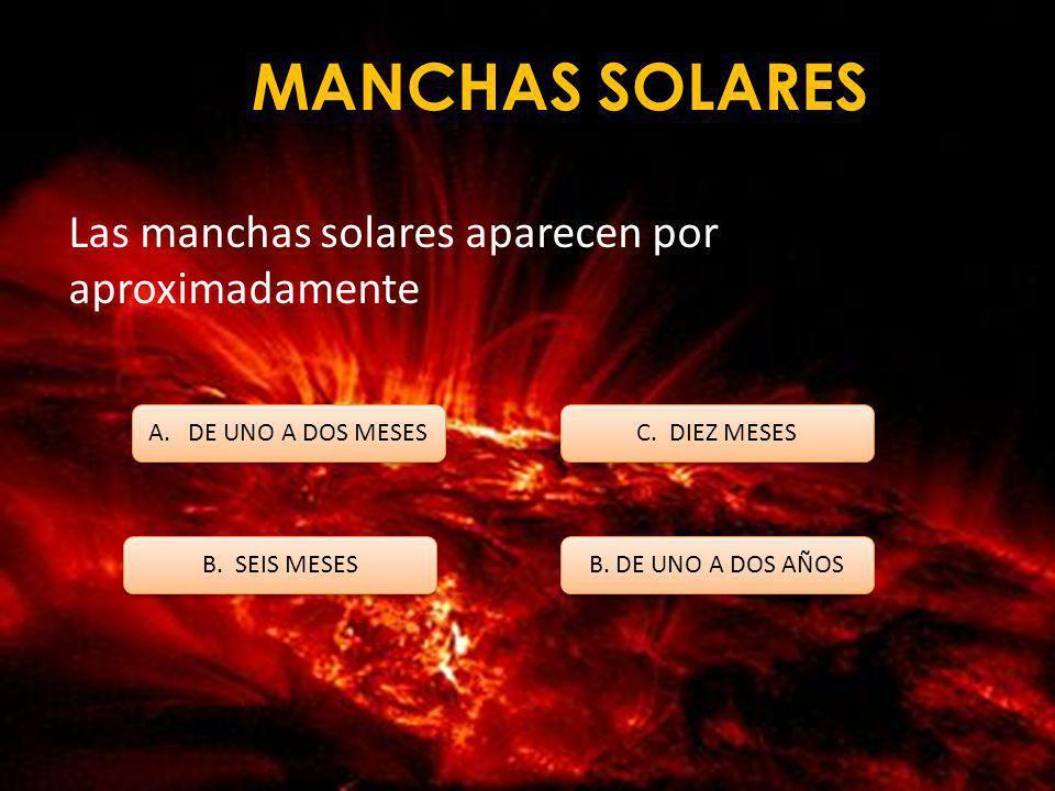 MANCHAS SOLARES Las primeras referencias claras a las manchas solares fueron hechas por los astrónomos A. JAPONESES B. CHINOS C. RUSOS B. ESTADOUNIDEN