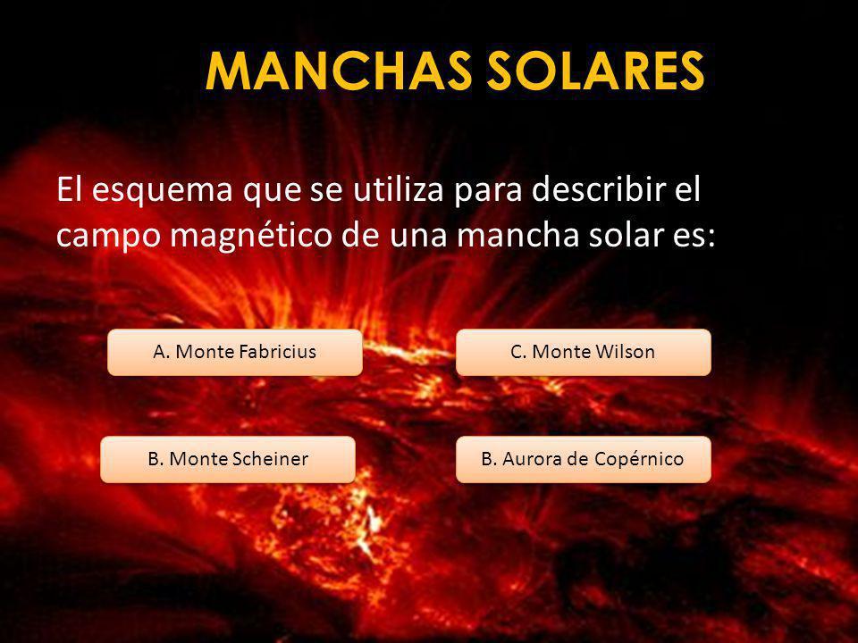 MANCHAS SOLARES Los primeros en escribir de las manchas solares fueron: A. David Fabricius B. Copérnico C. Galileo B. Scheiner