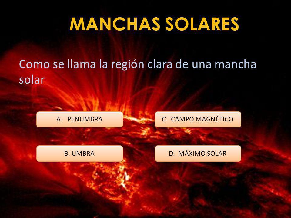 MANCHAS SOLARES El esquema que se utiliza para describir el campo magnético de una mancha solar es: A. Monte Fabricius B. Aurora de Copérnico C. Monte