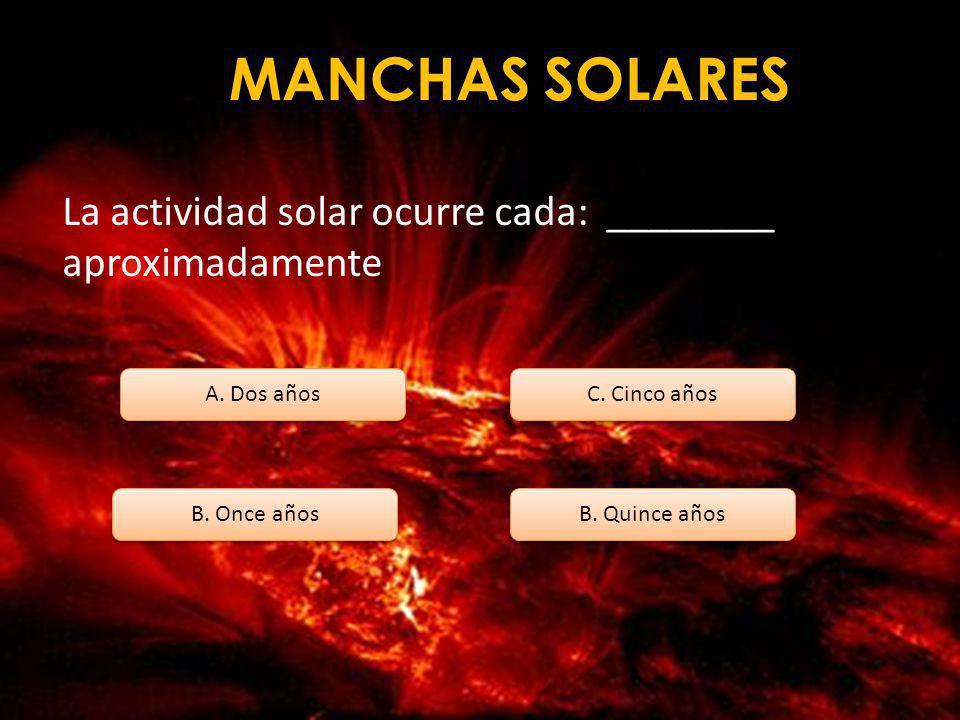 MANCHAS SOLARES Como se llama la región clara de una mancha solar A. PENUMBRA B. UMBRA C. CAMPO MAGNÉTICO D. MÁXIMO SOLAR