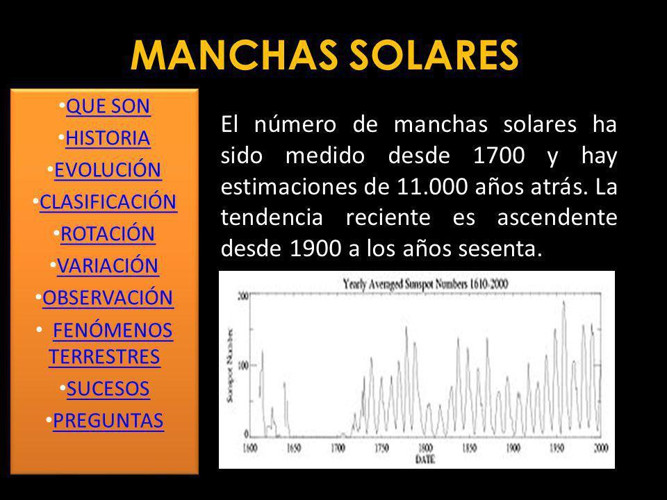 MANCHAS SOLARES La medición del desplazamiento de las manchas solares ha permitido deducir que el Sol tiene un periodo de rotación de 27 días.