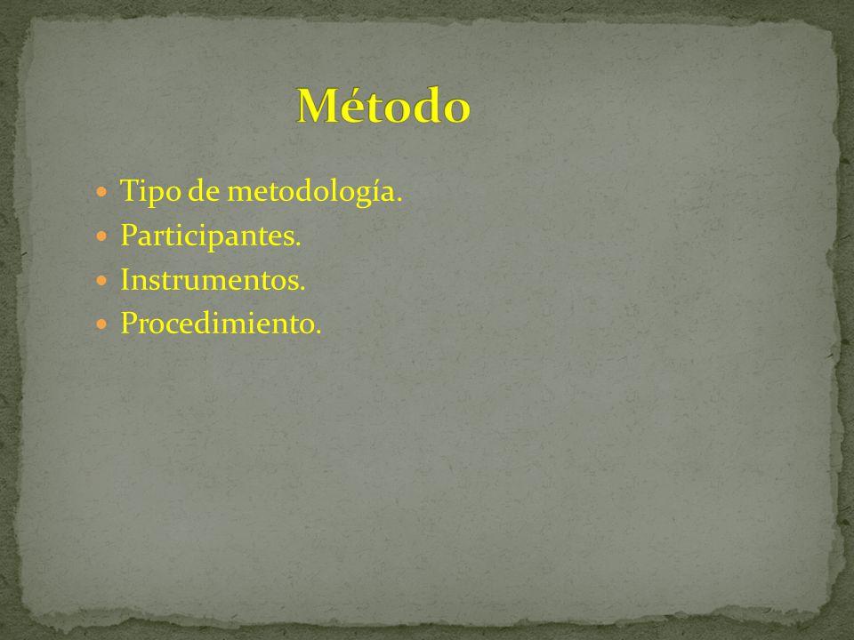 Tipo de metodología. Participantes. Instrumentos. Procedimiento.