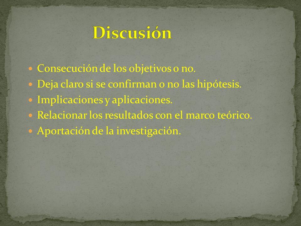 Consecución de los objetivos o no. Deja claro si se confirman o no las hipótesis. Implicaciones y aplicaciones. Relacionar los resultados con el marco
