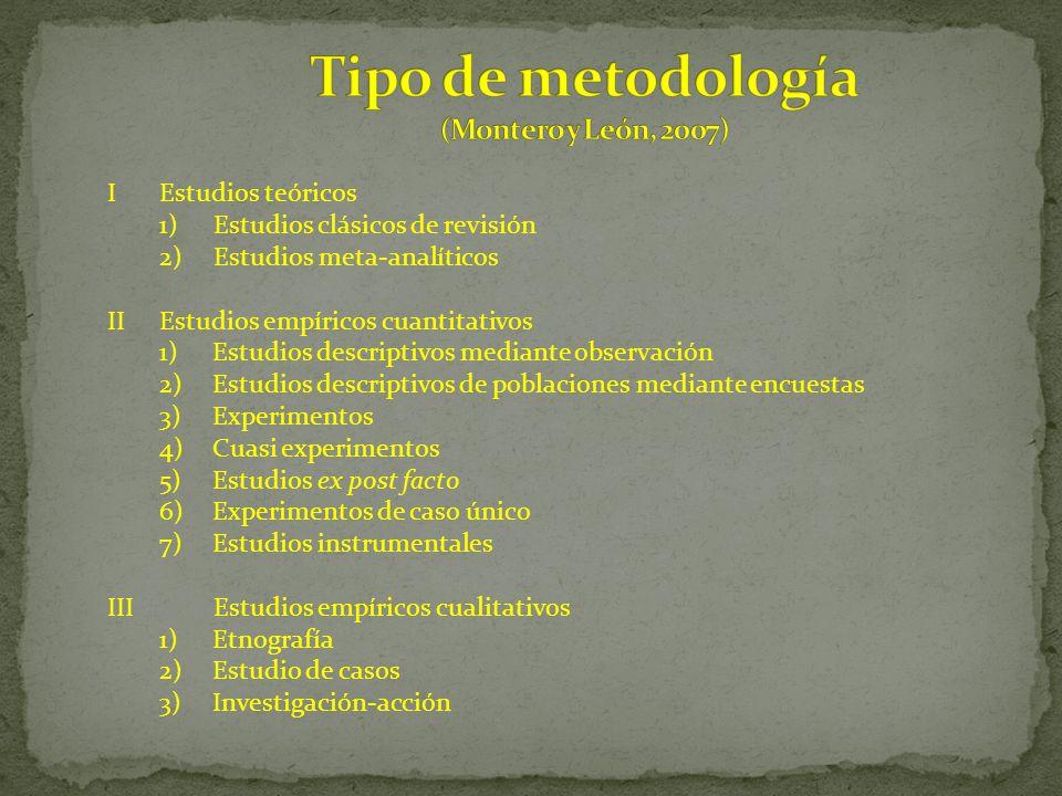 IEstudios teóricos 1)Estudios clásicos de revisión 2)Estudios meta-analíticos IIEstudios empíricos cuantitativos 1)Estudios descriptivos mediante obse