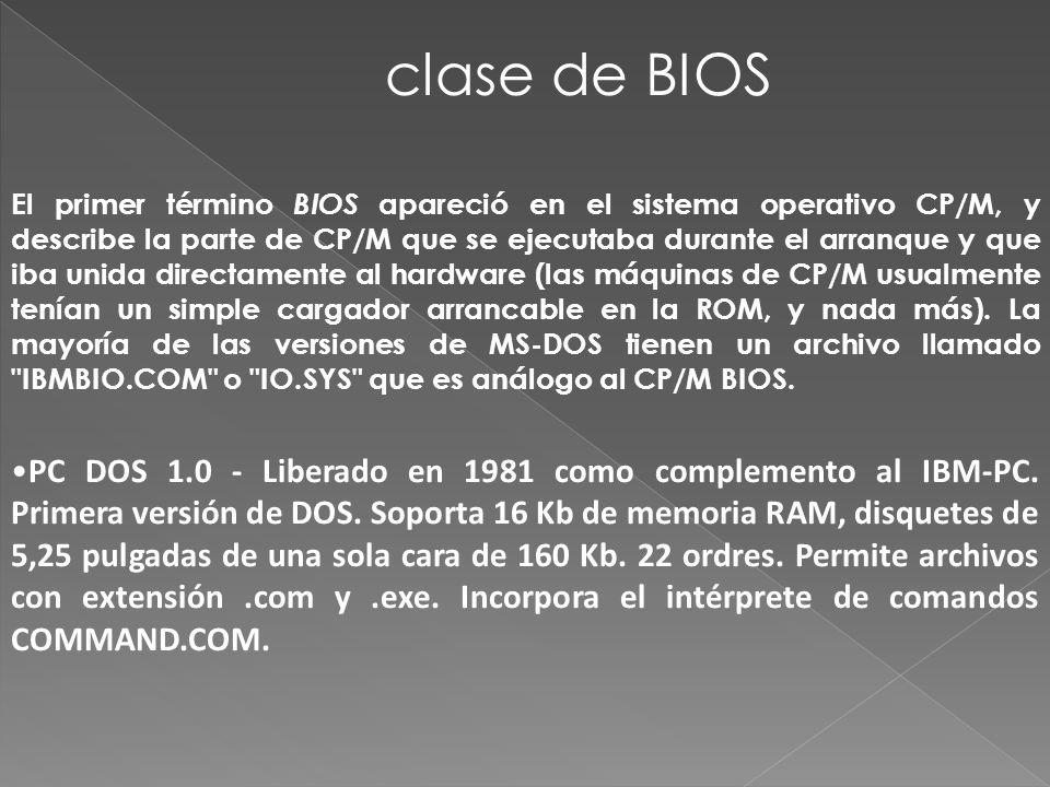 El primer término BIOS apareció en el sistema operativo CP/M, y describe la parte de CP/M que se ejecutaba durante el arranque y que iba unida directamente al hardware (las máquinas de CP/M usualmente tenían un simple cargador arrancable en la ROM, y nada más).