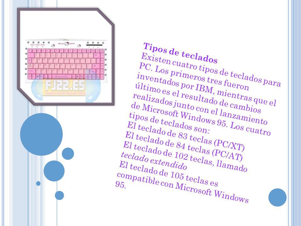 Tipos de teclados Existen cuatro tipos de teclados para PC. Los primeros tres fueron inventados por IBM, mientras que el último es el resultado de cam