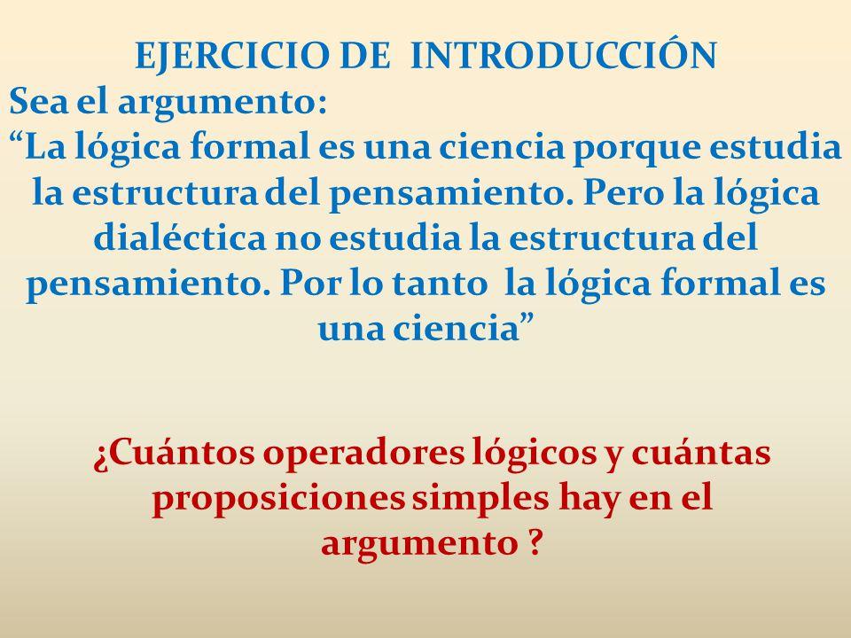 EJERCICIO DE INTRODUCCIÓN Sea el argumento: La lógica formal es una ciencia porque estudia la estructura del pensamiento. Pero la lógica dialéctica no