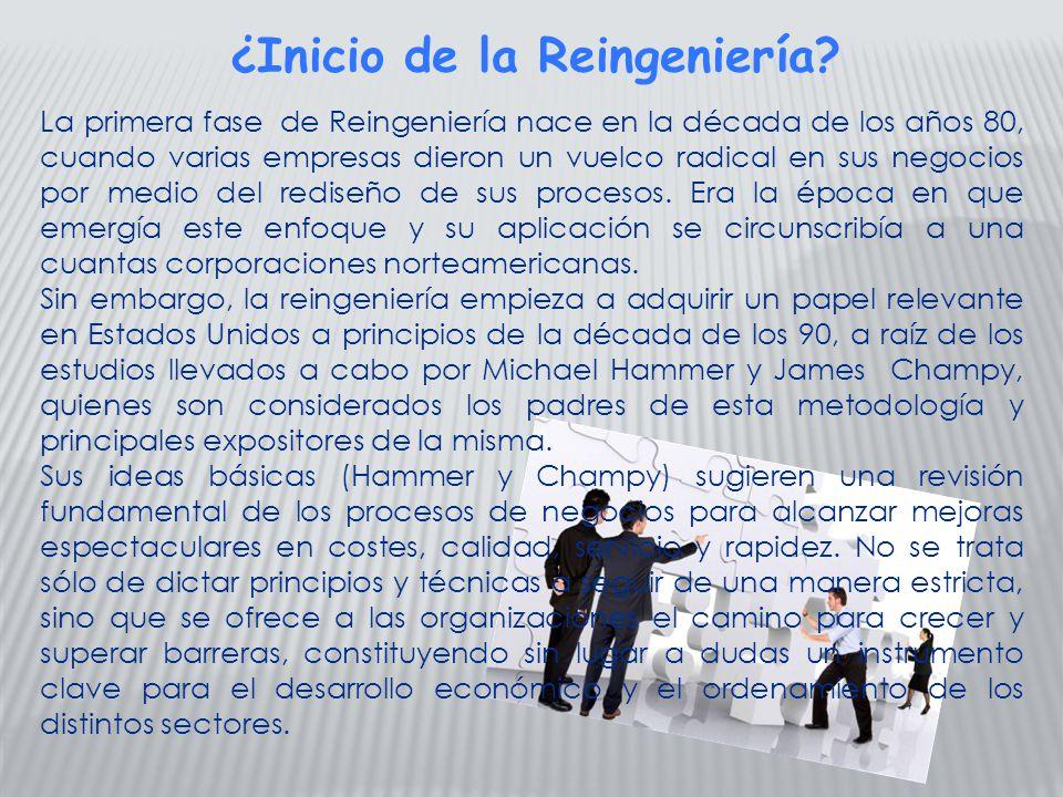 La primera fase de Reingeniería nace en la década de los años 80, cuando varias empresas dieron un vuelco radical en sus negocios por medio del redise