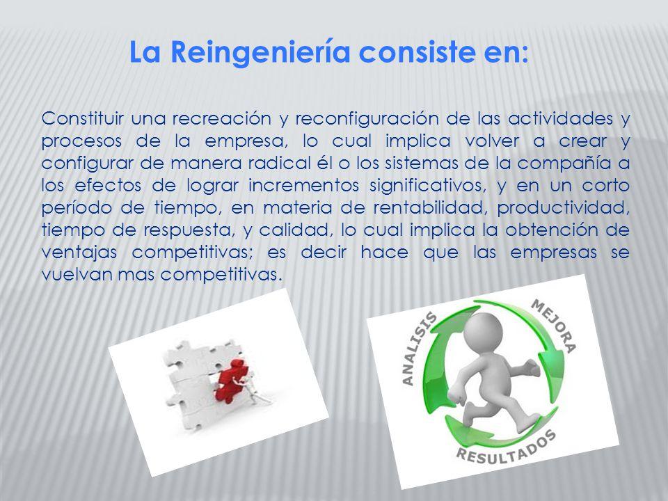 La Reingeniería consiste en: Constituir una recreación y reconfiguración de las actividades y procesos de la empresa, lo cual implica volver a crear y