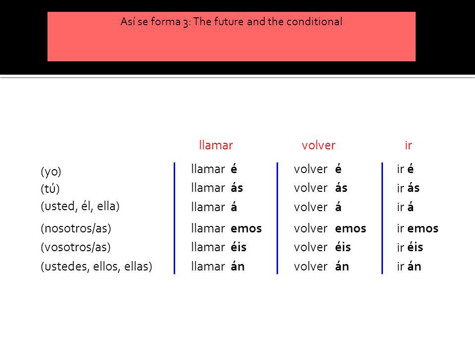 Así se forma 3: The future and the conditional (yo) (tú) (usted, él, ella) (nosotros/as) (vosotros/as) (ustedes, ellos, ellas) llamar é ás á emos éis