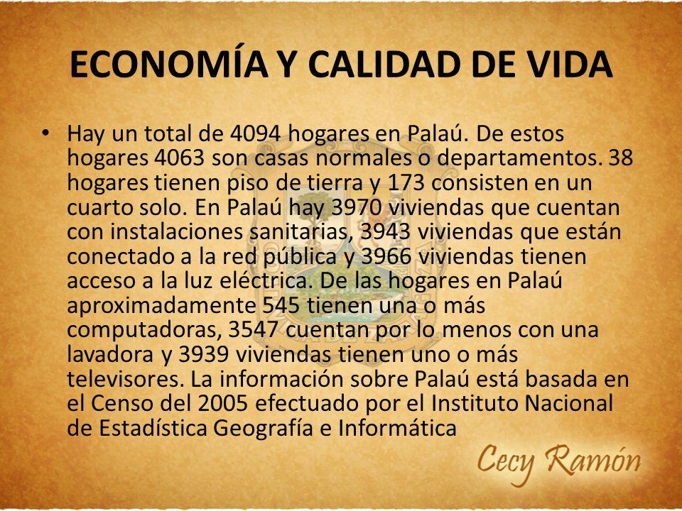 ECONOMÍA Y CALIDAD DE VIDA Hay un total de 4094 hogares en Palaú. De estos hogares 4063 son casas normales o departamentos. 38 hogares tienen piso de