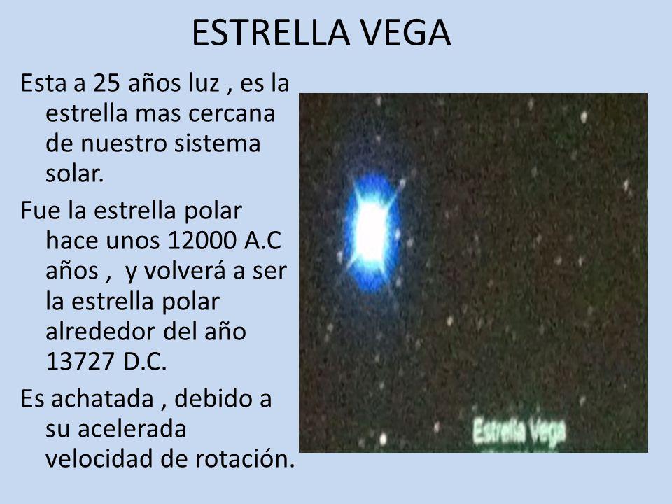 ESTRELLA VEGA Esta a 25 años luz, es la estrella mas cercana de nuestro sistema solar.