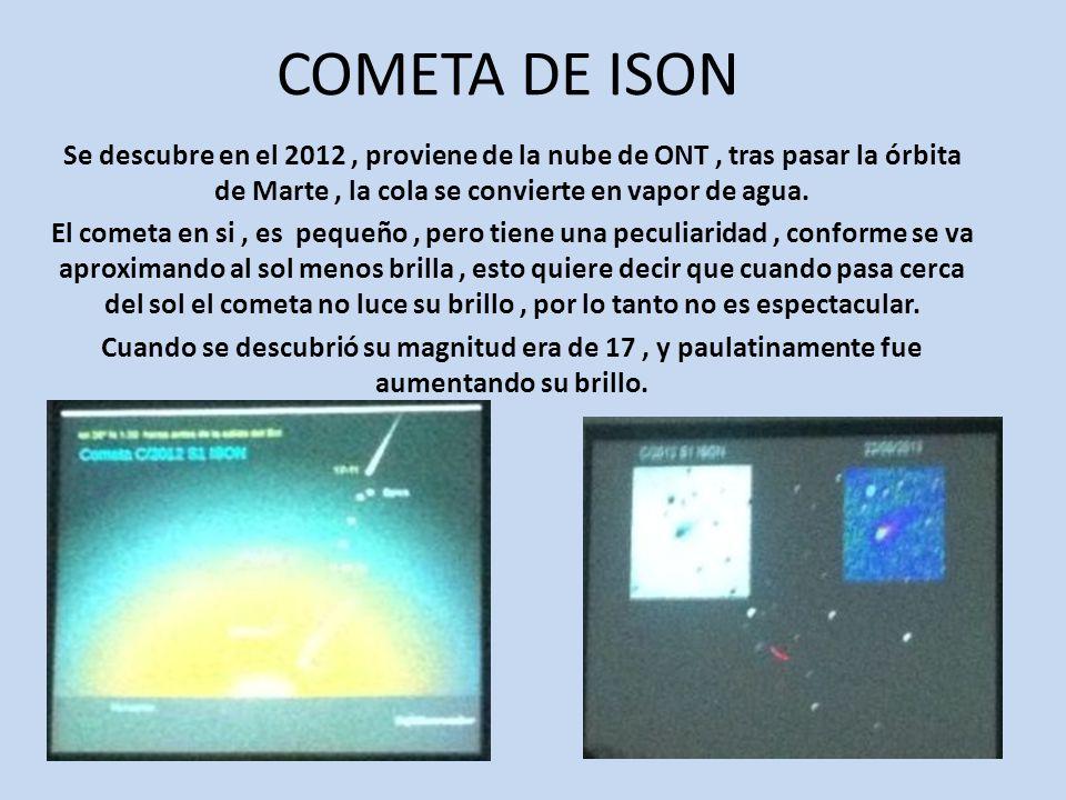 COMETA DE ISON Se descubre en el 2012, proviene de la nube de ONT, tras pasar la órbita de Marte, la cola se convierte en vapor de agua.