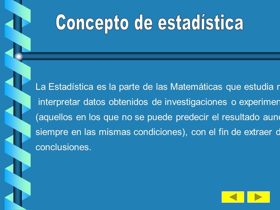 La Estadística es la parte de las Matemáticas que estudia métodos para interpretar datos obtenidos de investigaciones o experimentos aleatorios (aquellos en los que no se puede predecir el resultado aunque se realicen siempre en las mismas condiciones), con el fin de extraer de ellos unas conclusiones.