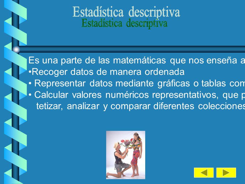 La Estadística puede ser: a) Descriptiva.-Trata de obtener unas conclusiones a partir de ciertos datos mediante el empleo de gráficos o la obtención d