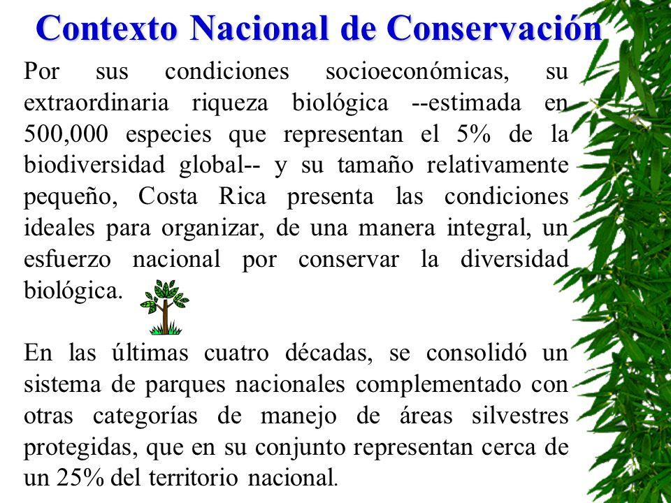 Contexto Nacional de Conservación Por sus condiciones socioeconómicas, su extraordinaria riqueza biológica --estimada en 500,000 especies que represen