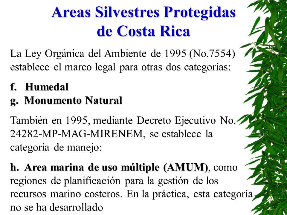 La Ley Orgánica del Ambiente de 1995 (No.7554) establece el marco legal para otras dos categorías: f. Humedal g. Monumento Natural También en 1995, me