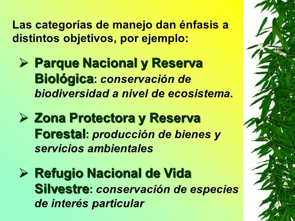 Las categorías de manejo dan énfasis a distintos objetivos, por ejemplo: Parque Nacional y Reserva Biológica Parque Nacional y Reserva Biológica : con