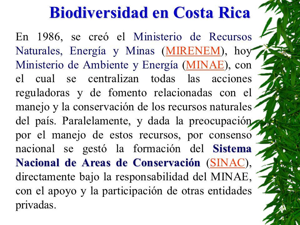 Biodiversidad en Costa Rica Sistema Nacional de Areas de Conservación En 1986, se creó el Ministerio de Recursos Naturales, Energía y Minas (MIRENEM),