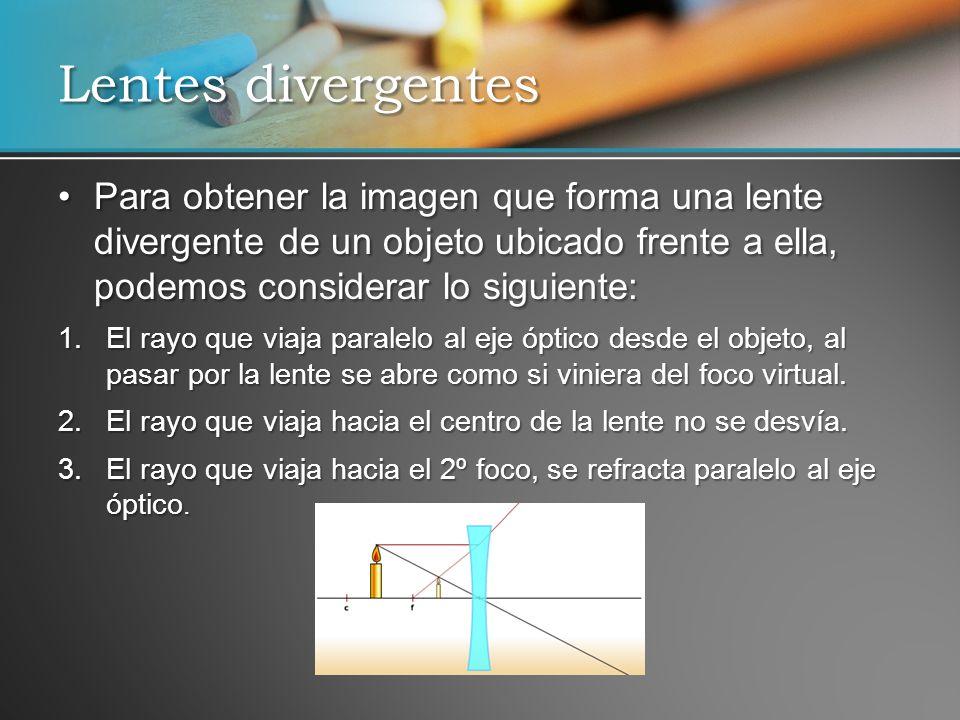 Para obtener la imagen que forma una lente divergente de un objeto ubicado frente a ella, podemos considerar lo siguiente:Para obtener la imagen que f