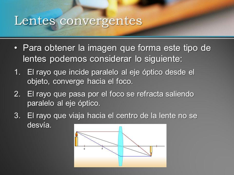 Para obtener la imagen que forma este tipo de lentes podemos considerar lo siguiente:Para obtener la imagen que forma este tipo de lentes podemos cons
