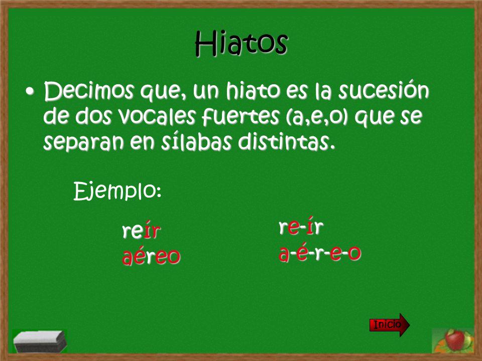 Hiatos Decimos que, un hiato es la sucesión de dos vocales fuertes (a,e,o) que se separan en sílabas distintas.Decimos que, un hiato es la sucesión de