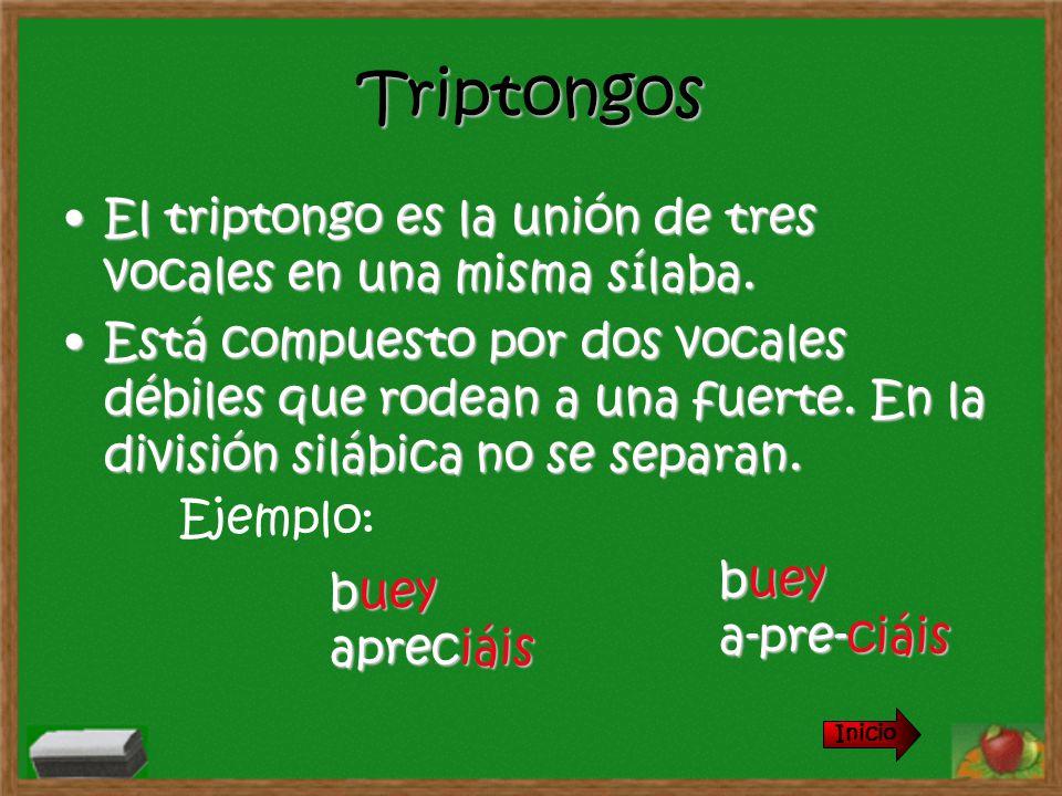 Triptongos El triptongo es la unión de tres vocales en una misma sílaba.El triptongo es la unión de tres vocales en una misma sílaba. Está compuesto p