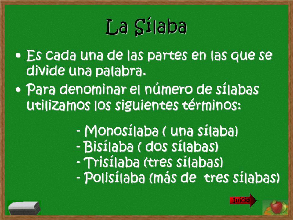 Sílaba Tónica Es la sílaba que pronunciamos con más fuerza en una palabra.