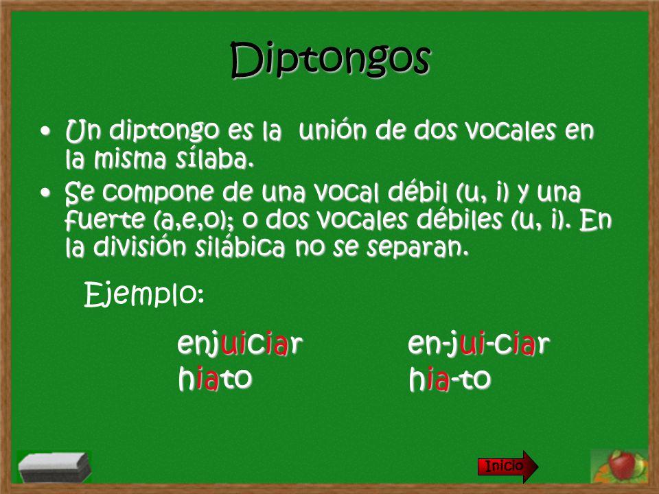 Diptongos Un diptongo es la unión de dos vocales en la misma sílaba.Un diptongo es la unión de dos vocales en la misma sílaba. Se compone de una vocal
