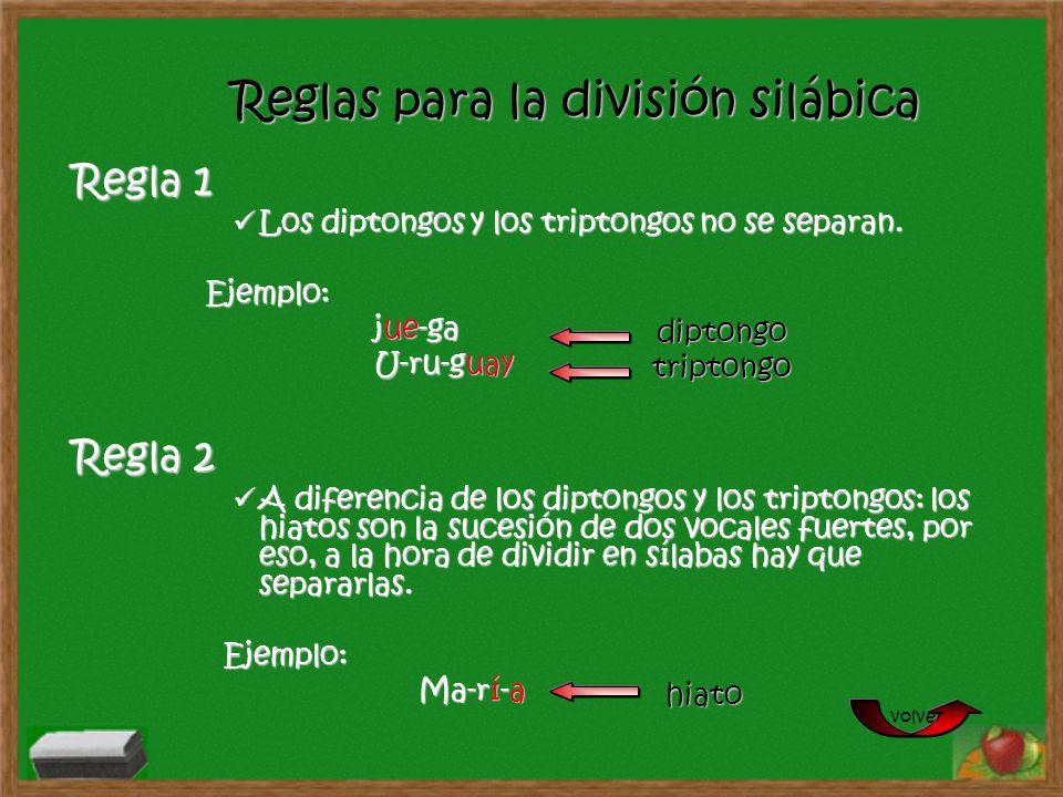 Reglas para la división silábica Regla 1 Los diptongos y los triptongos no se separan. Ejemplo: jue-ga U-ru-guay Regla 2 A diferencia de los diptongos