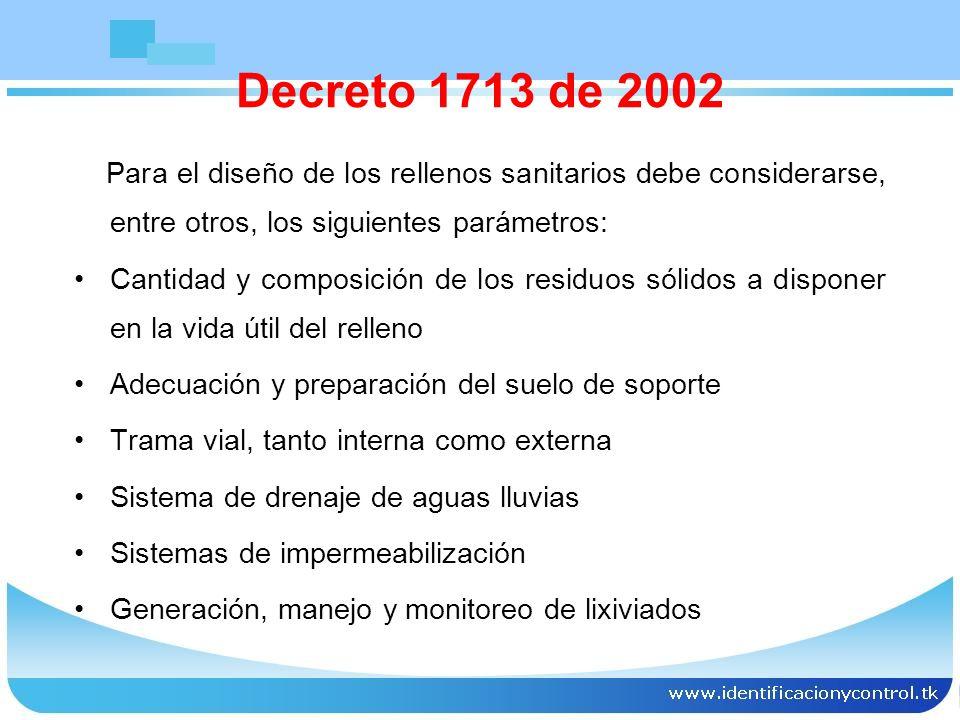 Las personas que operen los rellenos sanitarios son responsables de asegurar el manejo de los gases, líquido lixiviado y de desarrollar un sistema de monitoreo de calidad de los cuerpos de aguas, tanto subterráneas como superficiales en el área de influencia del relleno sanitario Decreto 1713 de 2002