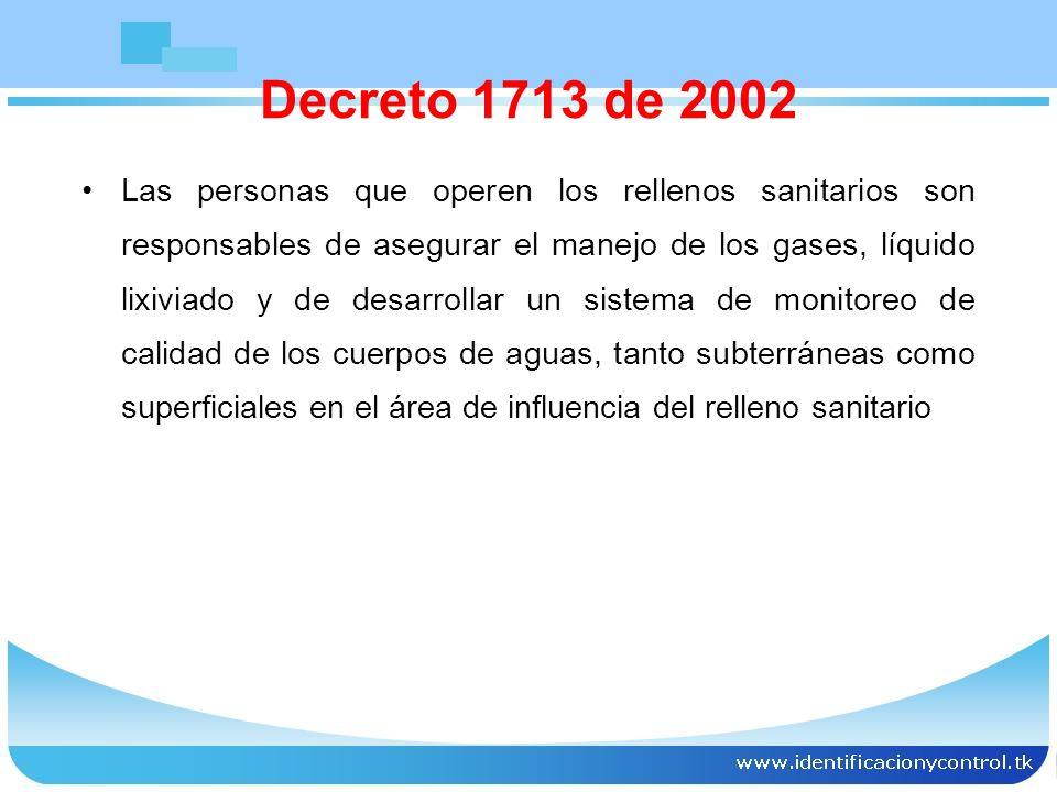 EL RELLENO SANITARIO DEBE GARANTIZAR: Prohibición del ingreso de residuos peligrosos Prohibición del ingreso de residuos líquidos y todos contaminados Control de vectores y roedores Control de gases y las concentraciones que los hacen explosivos Decreto 1713 de 2002