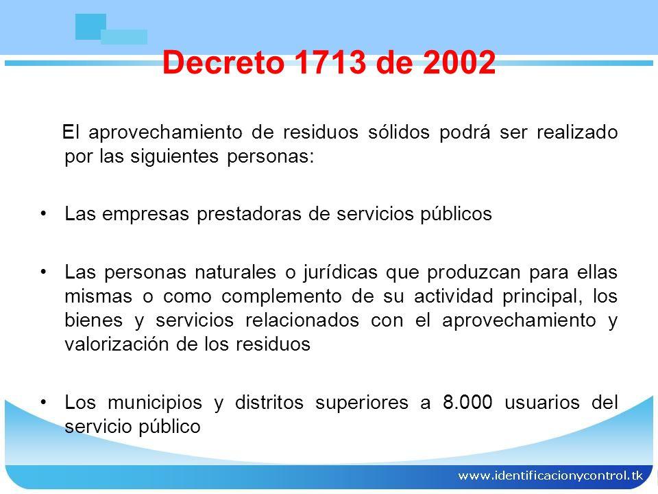 FORMAS DE APROVECHAMIENTO reutilización, el reciclaje, el compostaje, la lombricultura, la generación de biogás y la recuperación de energía Decreto 1713 de 2002