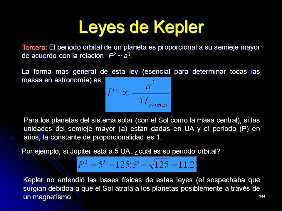 144 Leyes de Kepler Tercera: El periodo orbital de un planeta es proporcional a su semieje mayor de acuerdo con la relación P 2 ~ a 3. La forma mas ge