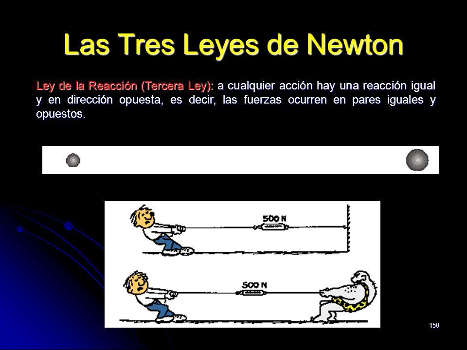 150 Las Tres Leyes de Newton Ley de la Reacción (Tercera Ley): a cualquier acción hay una reacción igual y en dirección opuesta, es decir, las fuerzas