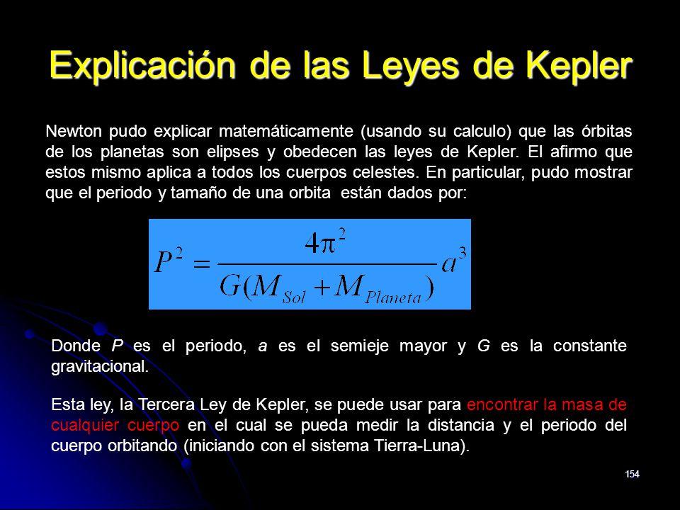 154 Explicación de las Leyes de Kepler Newton pudo explicar matemáticamente (usando su calculo) que las órbitas de los planetas son elipses y obedecen
