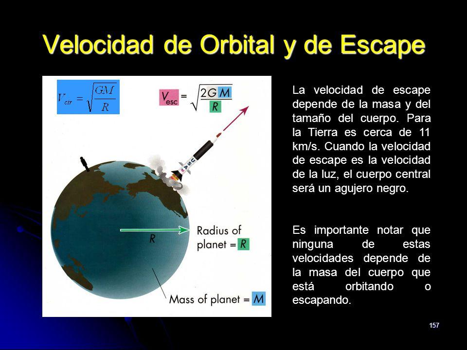 157 Velocidad de Orbital y de Escape La velocidad de escape depende de la masa y del tamaño del cuerpo. Para la Tierra es cerca de 11 km/s. Cuando la