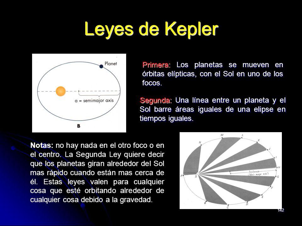 142 Leyes de Kepler Primera: Los planetas se mueven en órbitas elípticas, con el Sol en uno de los focos. Segunda: Una línea entre un planeta y el Sol