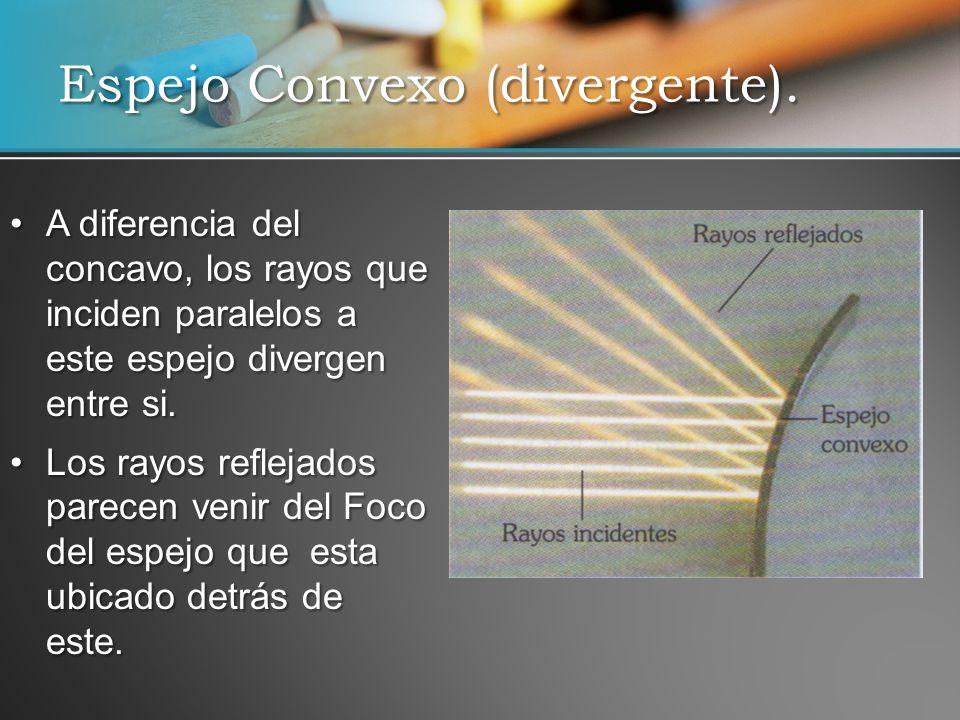 A diferencia del concavo, los rayos que inciden paralelos a este espejo divergen entre si.A diferencia del concavo, los rayos que inciden paralelos a