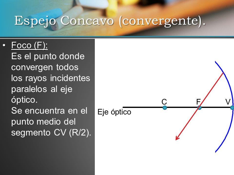 Espejo Concavo (convergente). Foco (F)Foco (F): Es el punto donde convergen todos los rayos incidentes paralelos al eje óptico. Se encuentra en el pun