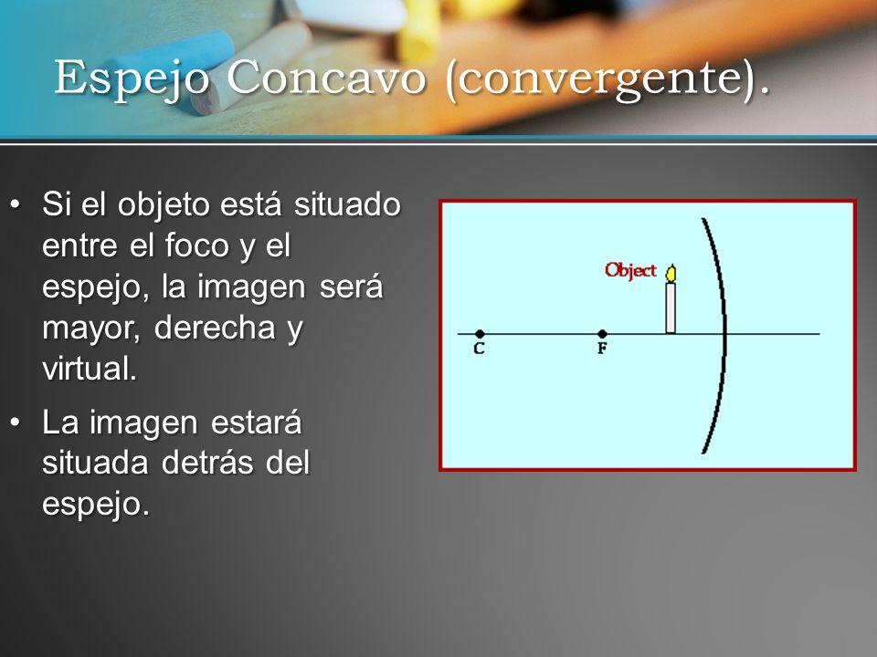 Si el objeto está situado entre el foco y el espejo, la imagen será mayor, derecha y virtual.Si el objeto está situado entre el foco y el espejo, la i