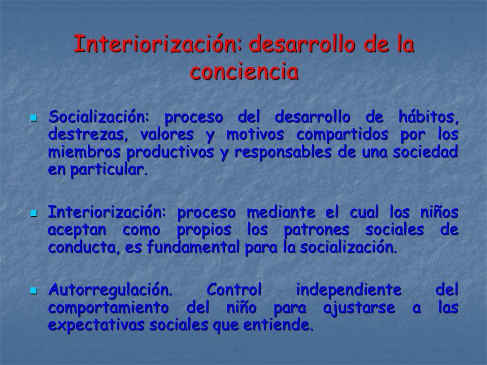 Interiorización: desarrollo de la conciencia Socialización: proceso del desarrollo de hábitos, destrezas, valores y motivos compartidos por los miembros productivos y responsables de una sociedad en particular.