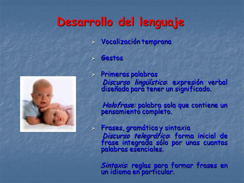 Desarrollo del lenguaje Vocalización temprana Vocalización temprana Gestos Gestos Primeras palabras Primeras palabras Discurso lingüístico: expresión verbal diseñada para tener un significado.