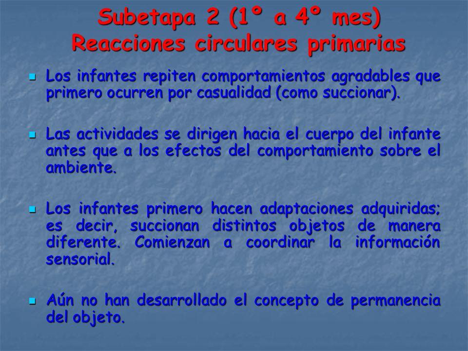 Subetapa 2 (1º a 4º mes) Reacciones circulares primarias Los infantes repiten comportamientos agradables que primero ocurren por casualidad (como succionar).