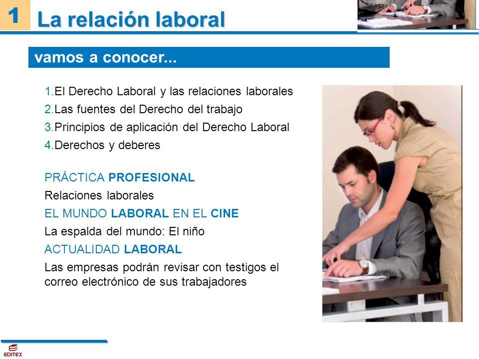 1 La relación laboral 1.El Derecho Laboral y las relaciones laborales 2.Las fuentes del Derecho del trabajo 3.Principios de aplicación del Derecho Lab