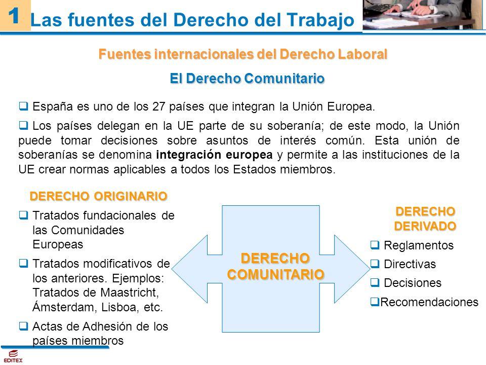 1 Fuentes internacionales del Derecho Laboral Las fuentes del Derecho del Trabajo El Derecho Comunitario España es uno de los 27 países que integran l