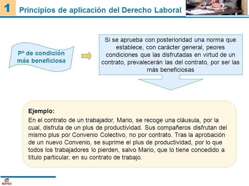 1 Principios de aplicación del Derecho Laboral Pº de condición más beneficiosa Si se aprueba con posterioridad una norma que establece, con carácter g
